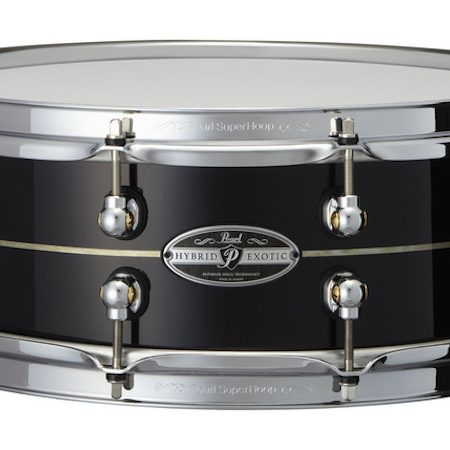 "Pearl Hybrid Exotic 14"" x 5"" Kapur Fiberglass Snare Drum in Glimmering Ebony with Pearl Inlay"