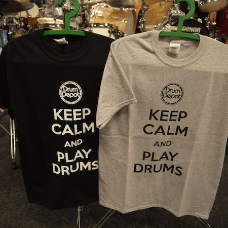 Keep Calm and Play Drums Grey Drum Depot Tshirt