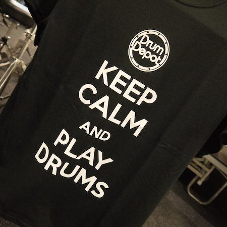 Keep Calm and Play Drums Black Drum Depot Tshirt