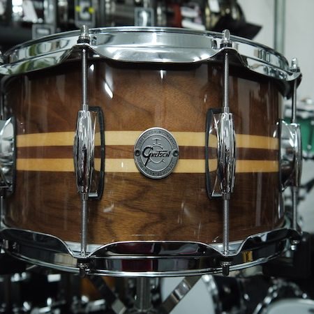 Gretsch Silver Series 8 Ply Walnut Snare Drum with Maple Inlays