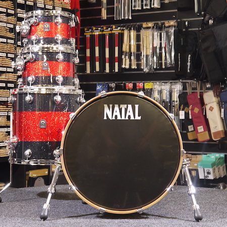 "Natal Cafe Racer 22"" Shell Pack (4pc) in Black Sparkle with Red Sparkle Band"