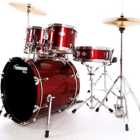 "Mapex Tornado Fast Sizes 22"" Starter Kit (5pc) in Burgundy Red with Hardware and Cymbals"