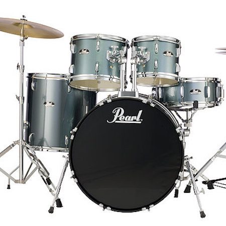 "Pearl Roadshow 20"" Kit (5pc) in Charcoal Metallic with Hardware and Cymbals"