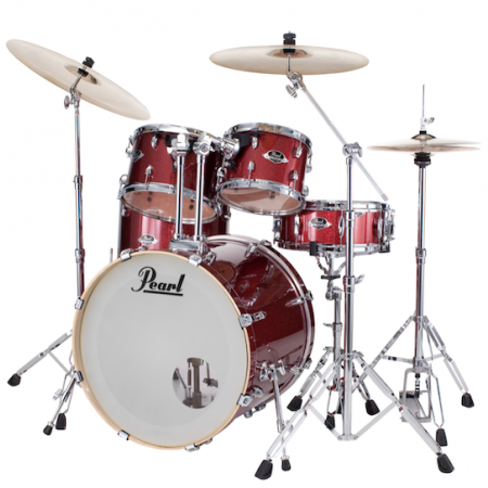 "Pearl Export 22"" Kit (5pc) in Black Cherry Glitter with Cymbals & Hardware Pack"