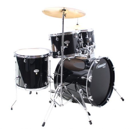 "Mapex Tornado Compact/Junior 18"" Starter Kit (5pc) in Black with Hardware and Cymbals"