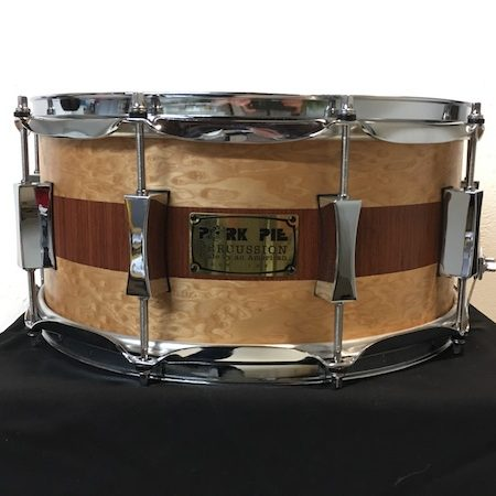 Pork Pie 14 x 6.5 USA Custom Speciality Snare Drum in Brandied Peach with Mahogany Stripe