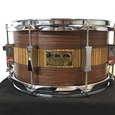 Pork Pie 13 x 7 USA Custom Speciality Snare Drum in Rosewood/Zebrawood Finish