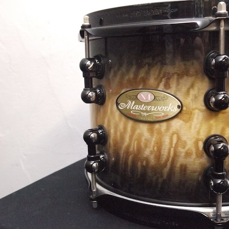 "Pearl Masterworks 10"" x 8"" Tom in Natural to Black Burst Tamo Ash with Black Hardware"