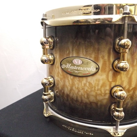 "Pearl Masterworks 10"" x 8"" Tom in Natural to Black Burst Tamo with Gold Hardware"