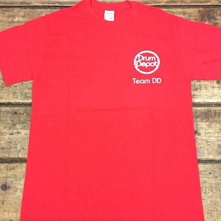 "Drum Depot ""Team DD"" Red T-Shirt - Front"