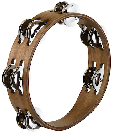 Meinl Compact Tambourine in Walnut Brown with Stainless Steel Jingles