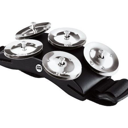 Meinl Cajon Foot Tambourine in Black with Stainless Steel Jingles